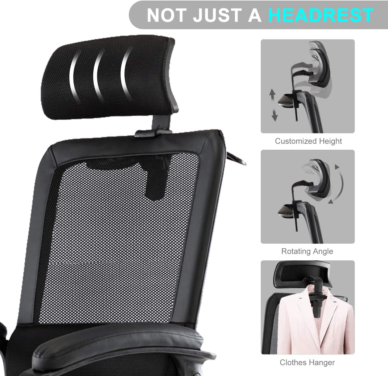 [US Direct] Original Smugdesk Office Chair, High Back Ergonomic Mesh Desk Office Chair with Padding Armrest and Adjustable Headrest Black