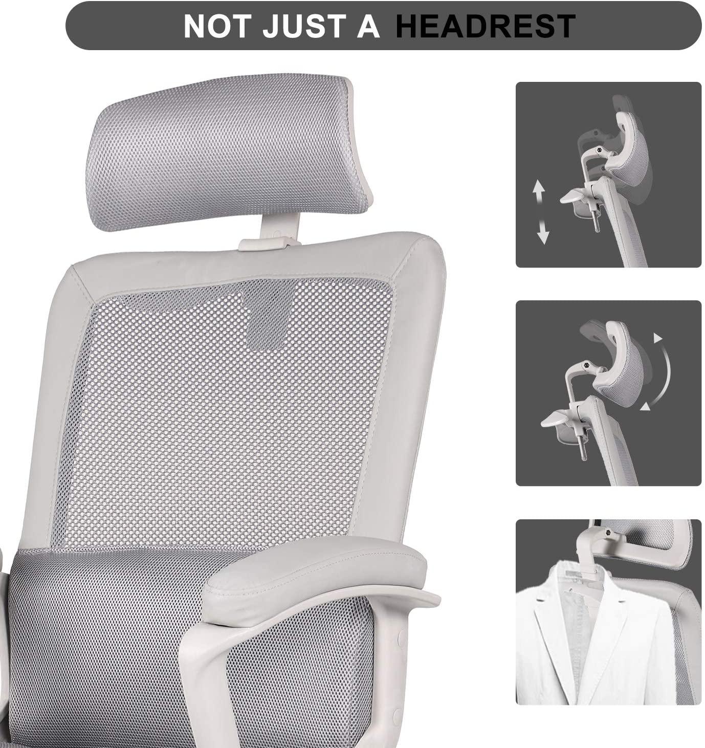 [US Direct] Original Smugdesk Office Chair, High Back Ergonomic Mesh Desk Office Chair with Padding Armrest and Adjustable Headrest -Gray