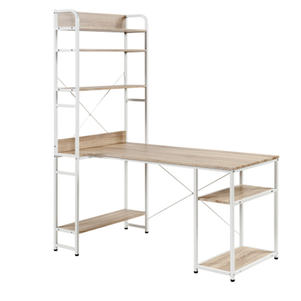 [US Direct] Mdf+metal Frame Home Office Computer  Desk 5 Layers Open Type Bookshelves Large Storage Space oak