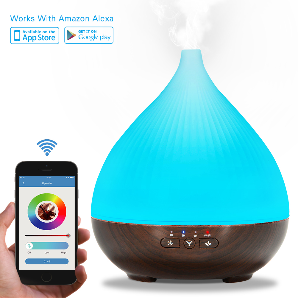 [EU Direct] 300ml Essential Oil Aroma Diffuser, Works with Amazon Alexa, Smart-phone App Control, Compatible with Android and IOS, Cool Mist Aroma Humidifier with 7 Colored LED Lights, Timer Function, Auto Shut-off