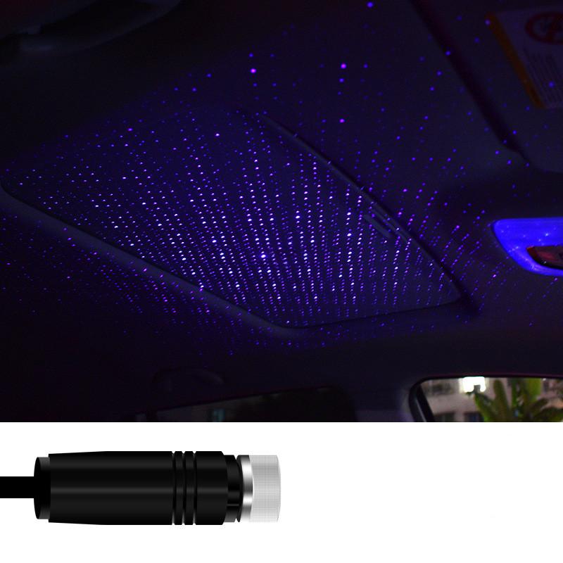 Car USB Star Ceiling Light Car Roof Lights Night Light Romantic Atmosphere Christmas Decoration New Year Gift Light C201-purple blue light