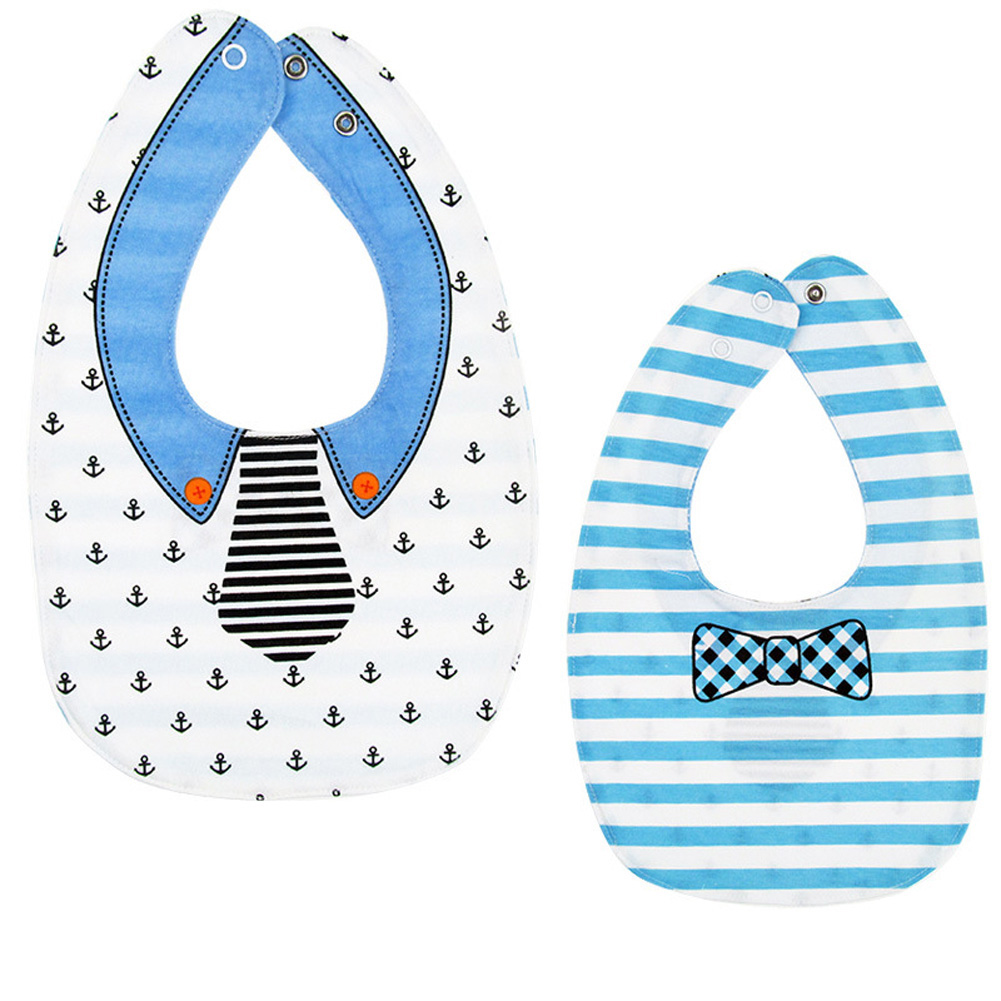 Baby Bib Feeding Bib Two-sided Waterproof Cartoon Printed Saliva Towel Baby Product Tie anchor