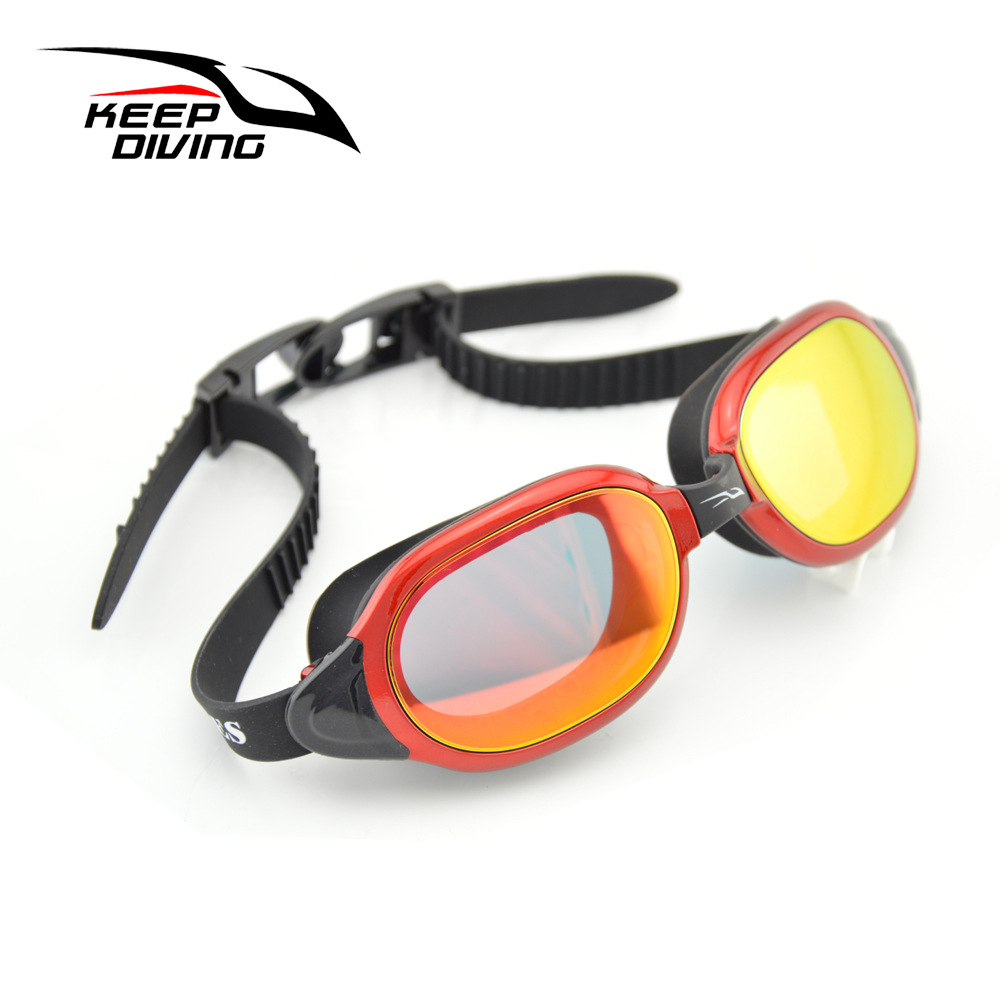 Professional Silicone myopia Swimming Goggles Anti-fog UV Swimming Glasses for Men Women diopter Sports Eyewear red
