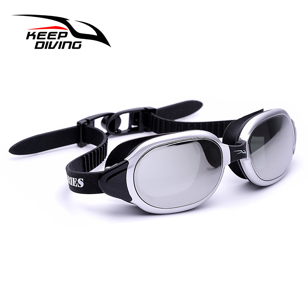 Professional Silicone myopia Swimming Goggles Anti-fog UV Swimming Glasses for Men Women diopter Sports Eyewear Silver