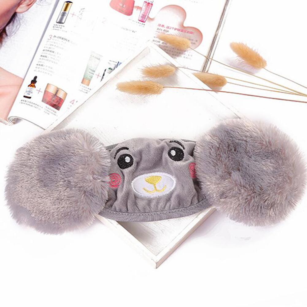 Kid 2-in-1 Warm Mask Earmuffs Cartoon Bear Winter Thicken Plush Riding Outdoor Wear Gray