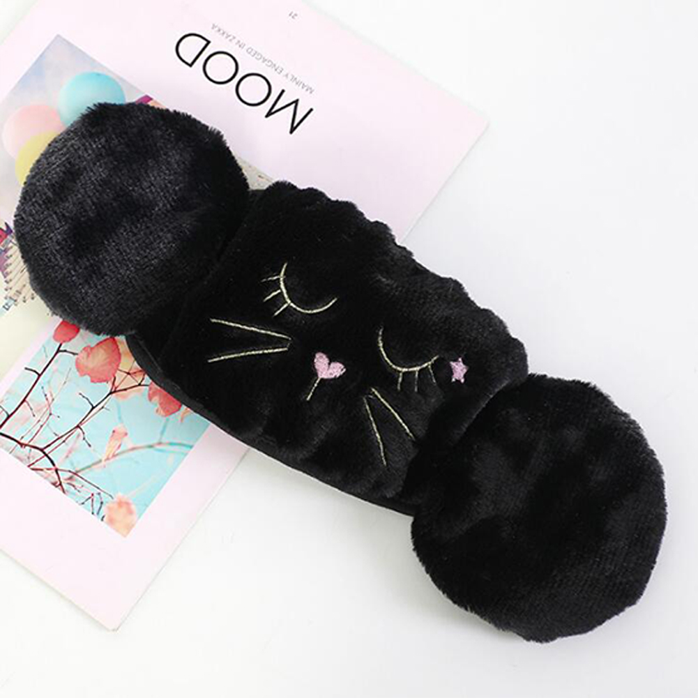 Women 2-in-1 Warm Mask Earmuffs Cartoon Cat Autumn Winter Thicken Plush Riding Outdoor Wear Black