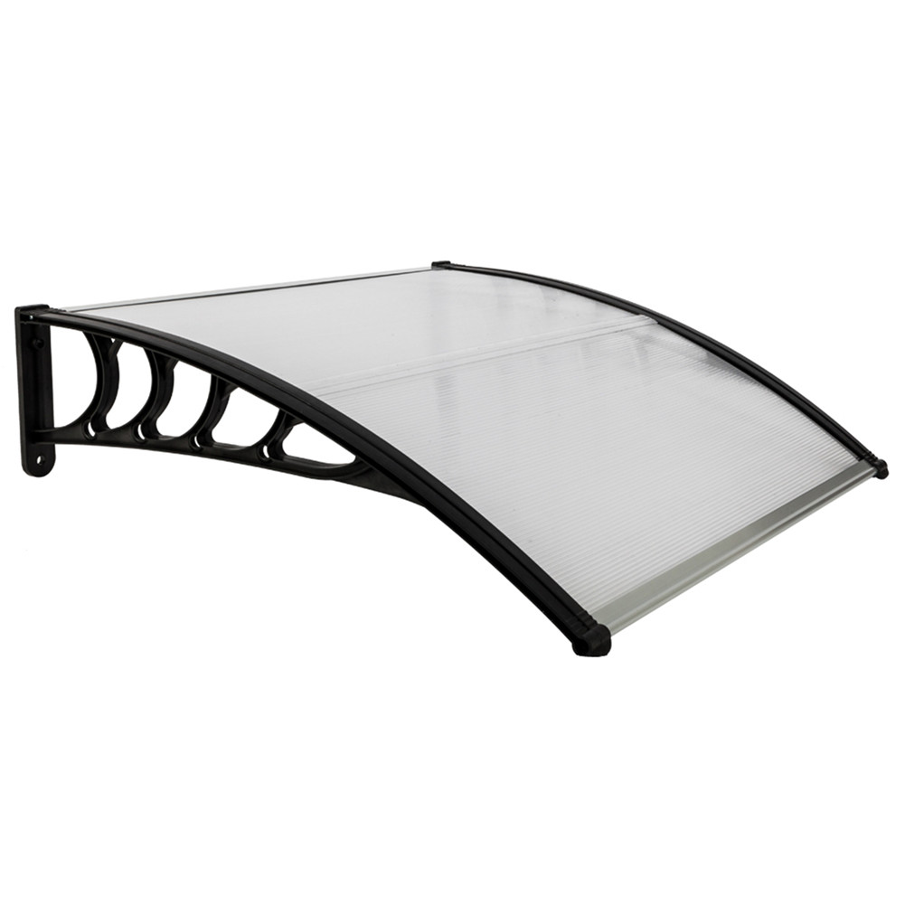 [US Direct] Eaves  Canopy 100*100 Roof Canopy Black Bracket Mini Rain Sun Shelter For Household Door Window Transparent shed