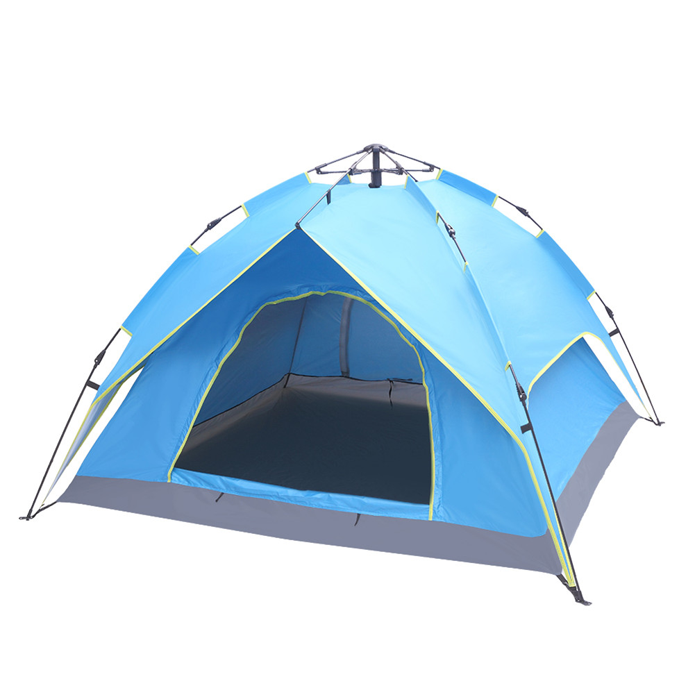 [US Direct] Camping  Tent 4-side Double-layer Double-door Hydraulic Easy Setup Tent blue