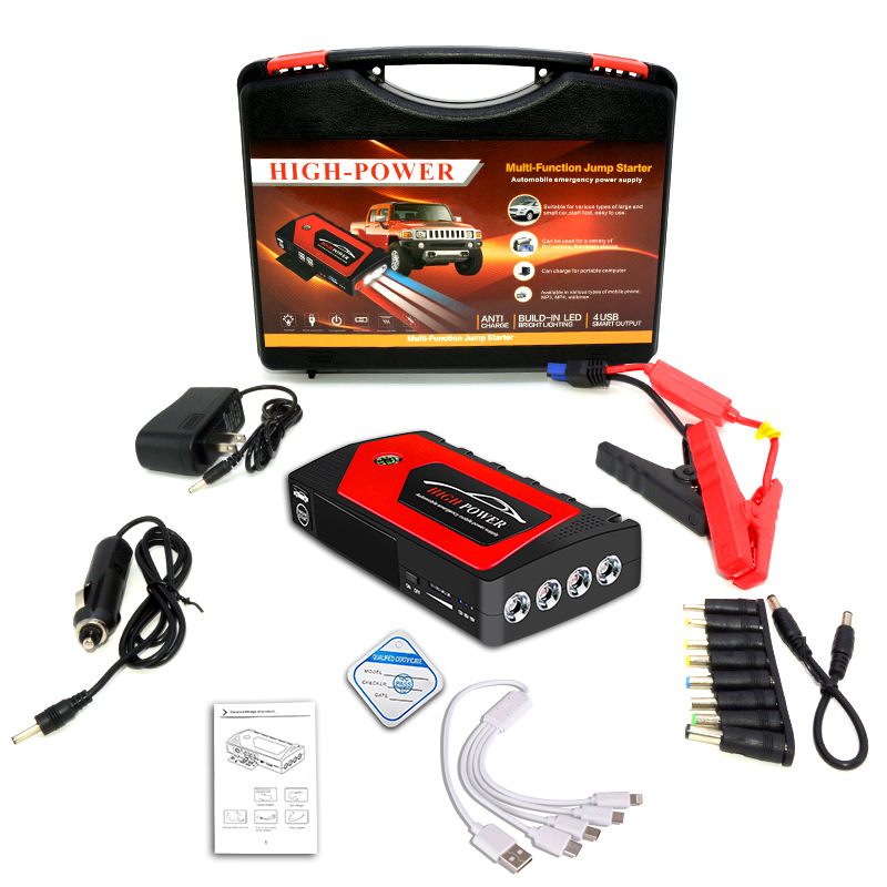 12v Car Jump Starter Emergency Starting Power For Car Portable Power Source Power Bank Red toolbox set_JX28 18000mAh