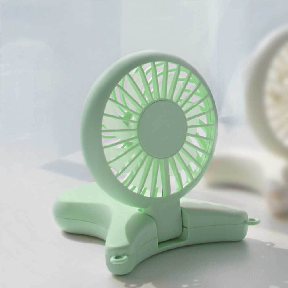 Lightweight Small Hanging Neck Mini Fan USB Lazy Hand Hold Folding Outdoor Fan green