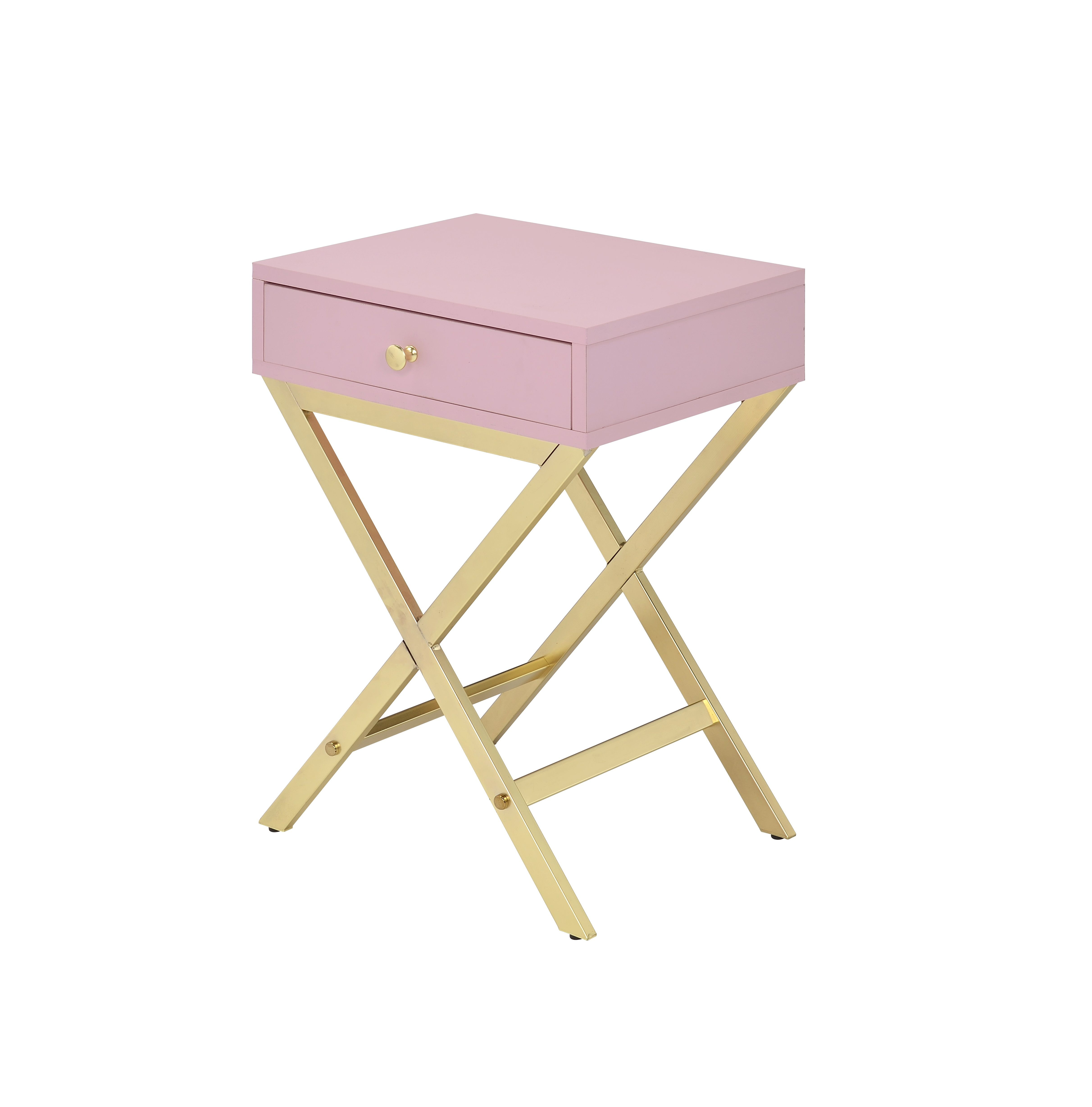 [US Direct] ACME Coleen Side Table, Pink & Gold 82698