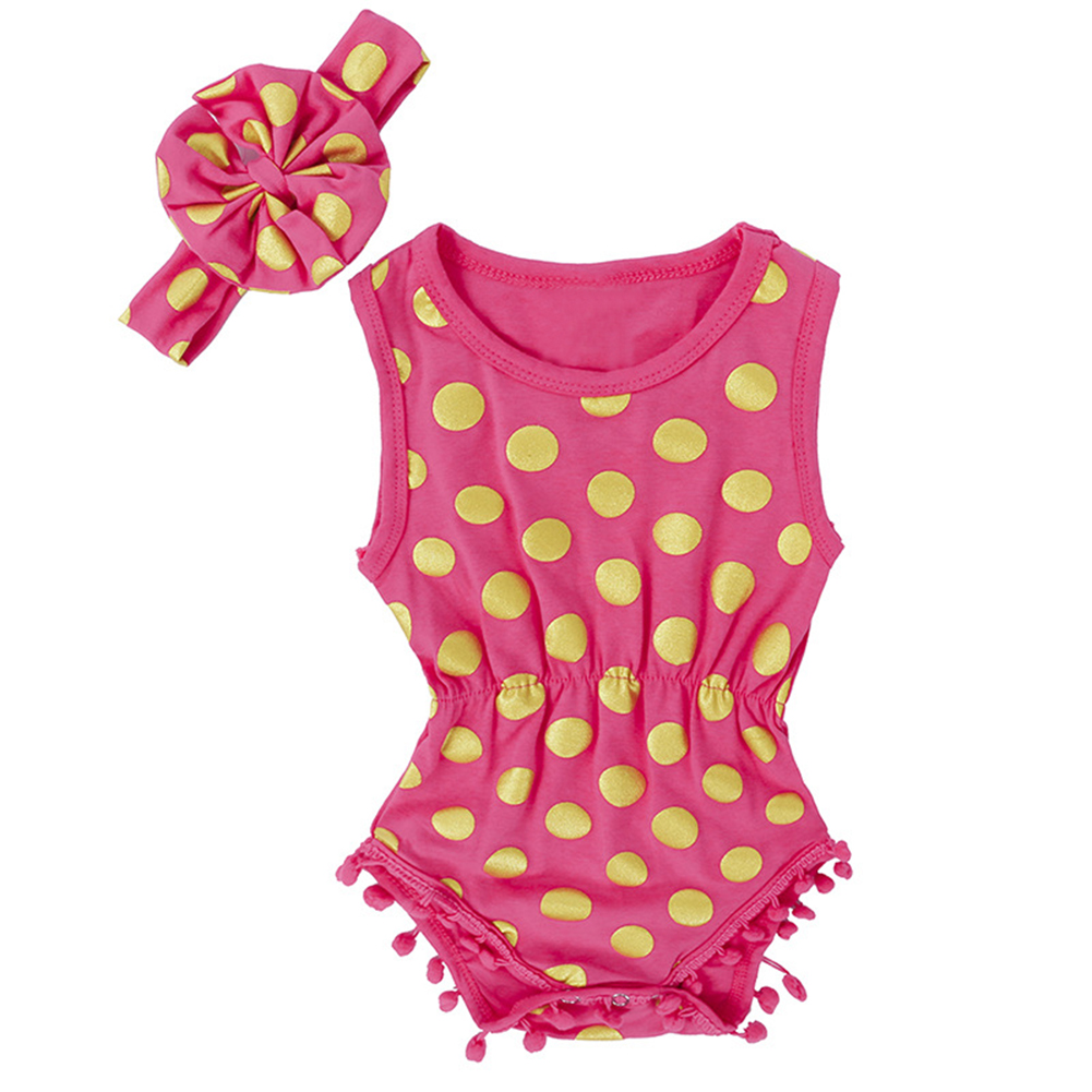 Baby Girl Kid Sleeveless Romper Cotton Fabric Polka Dot Jumpsuit Outfit