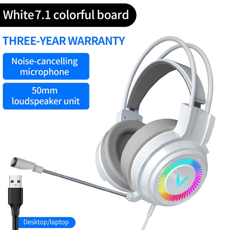 Gaming  Headset Surround Sound Stereo Wired Headset Usb Microphone Colorful Lighting Headset White 7.1USB version