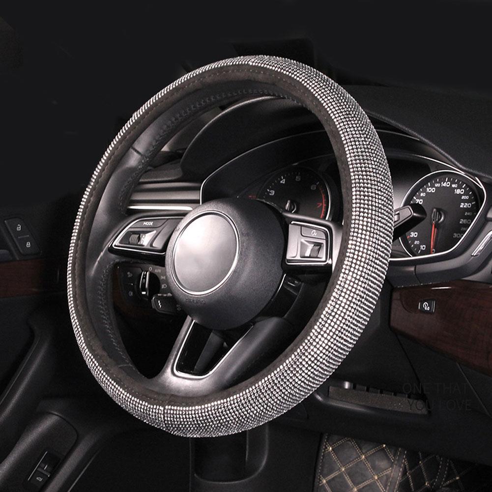 Full Crystal Steering Wheel Cover Rhinestone Diamond Car Steering Wheel Covers Car Styling Auto Accessories Set Silver Diamond