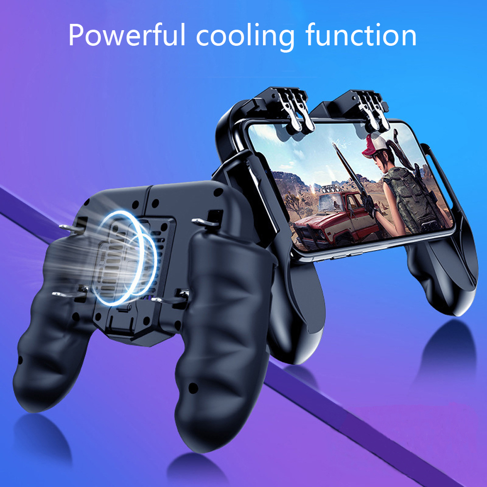 Powerful Six-finger Linkage Metal Key Fan Cooling High Sensitivity Phone Gamepad Bulit in Battery black
