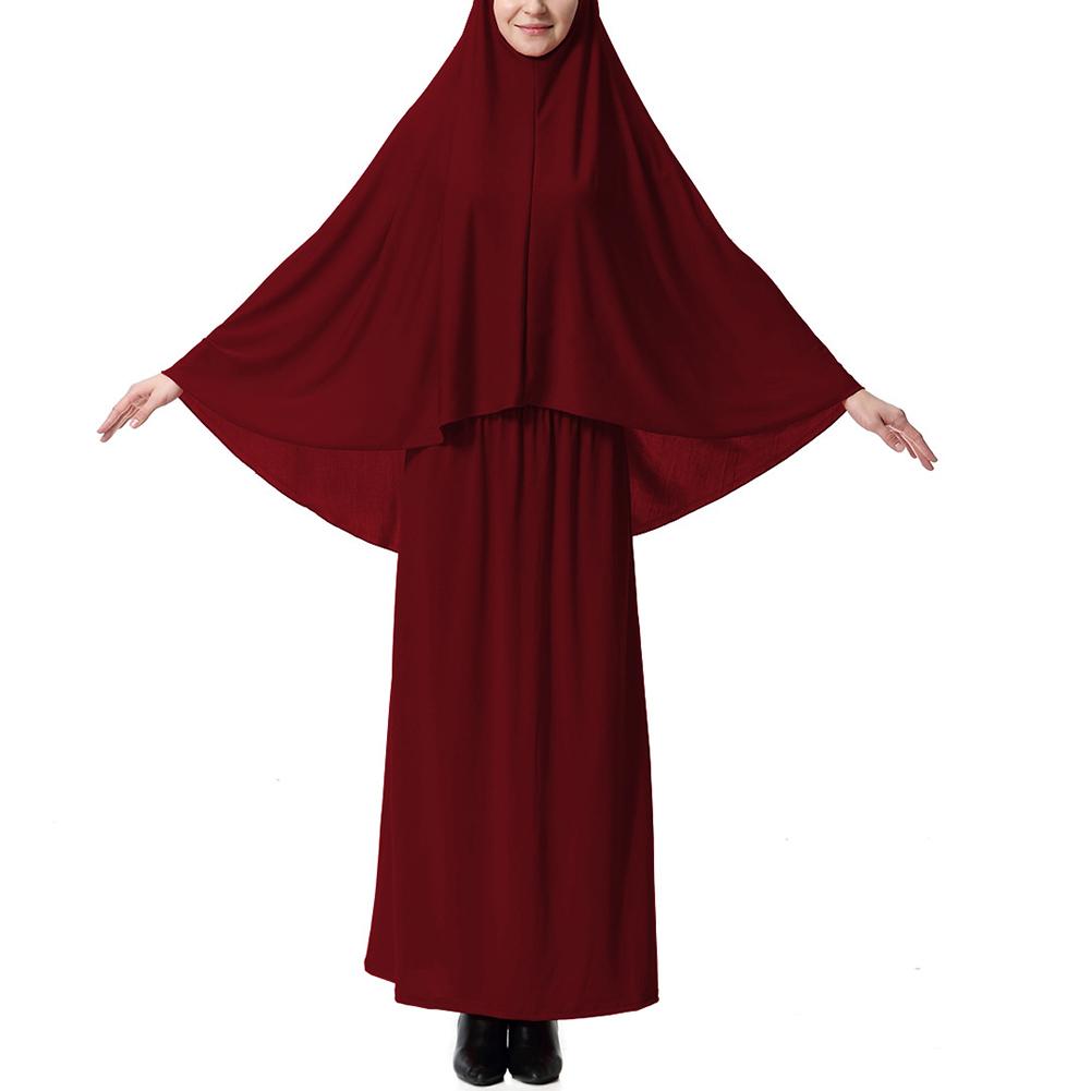 Women Muslim Arabic Clothe Set Barrel Skirt & Head Scarfs Long Dress Headcloth Gift