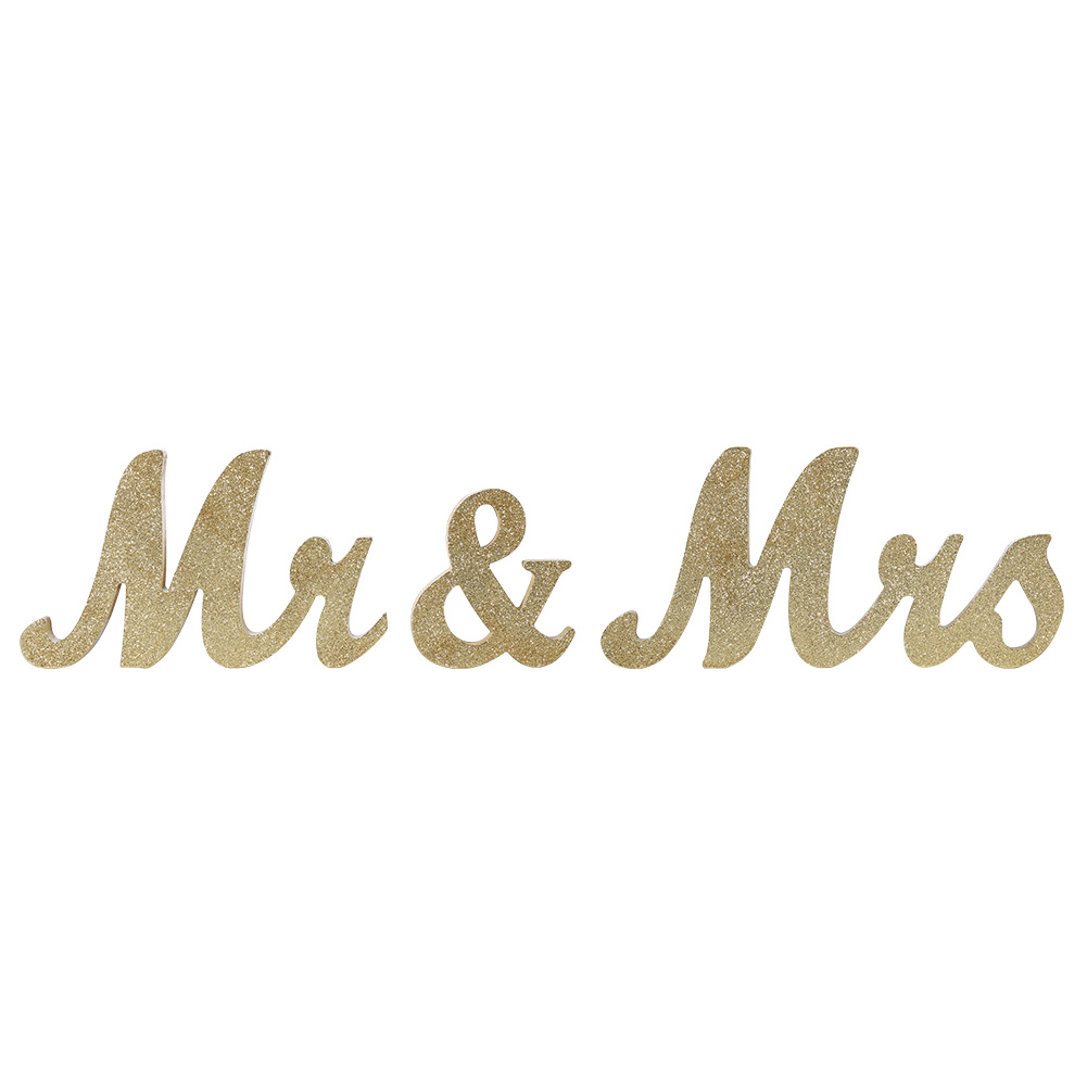Vintage StyleGold Glitter Mr & Mrs Wooden Letters for Wedding Decoration DIY Decoration