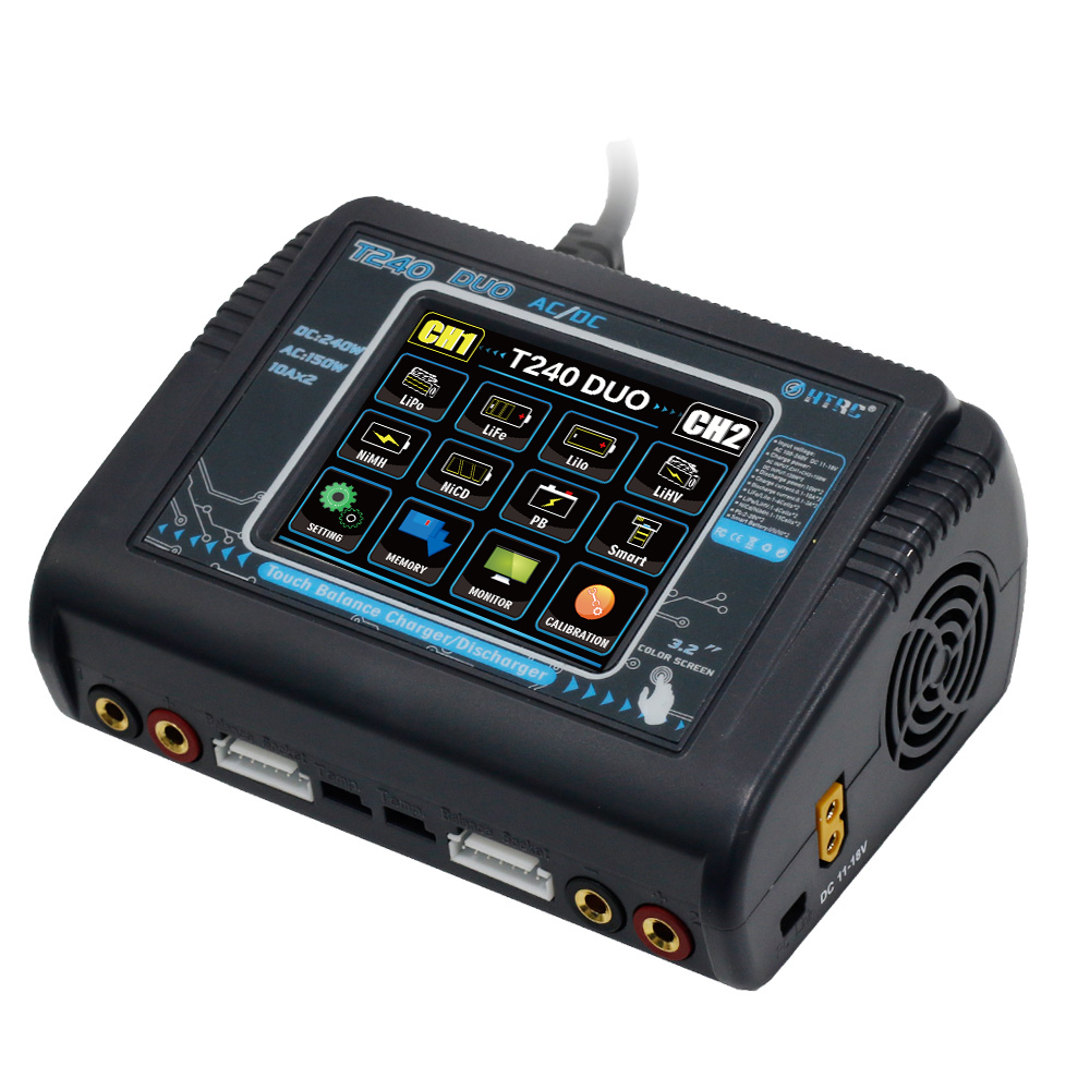 HTRC T240 RC Battery Charger AC 150W DC 240W Touch Screen Dual Channel Balance Charger European regulations
