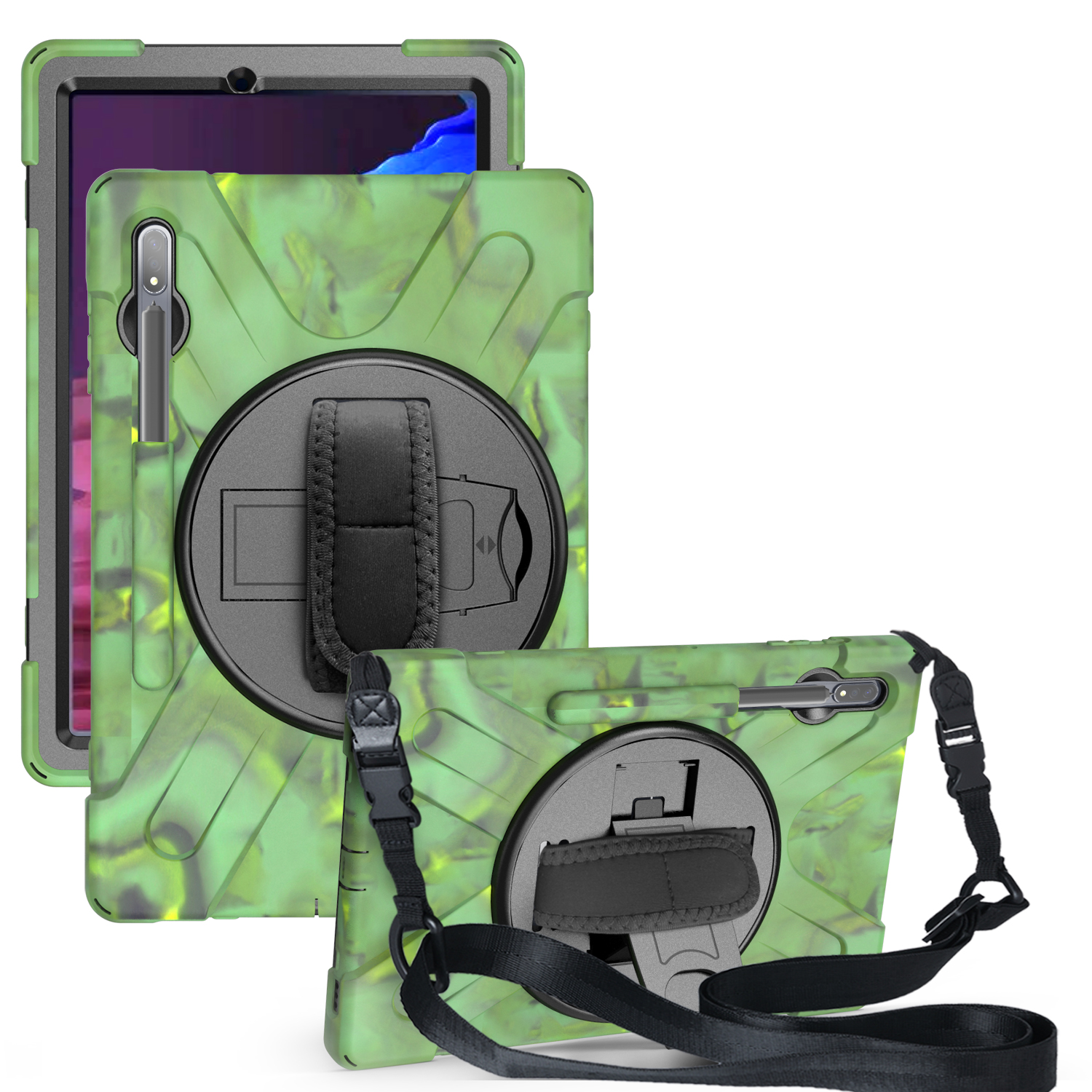 For Samsung Tab S7 T870 /Tab S7 Plus T970/T975 Protective Cover with Pen Slot Anti-fall Belt Holder + Wristband + Straps Camouflage_Samsung Tab S7 Plus T970/T975