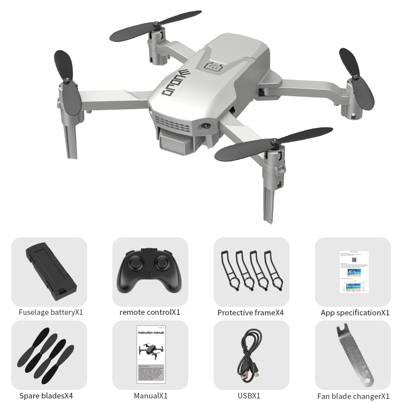 H1 Mini Remote Control Drone Arms Foldable Portable 2.4GHz RC Quadcopter White without camera