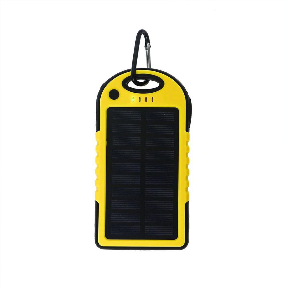 Universal Solar Power Bank 5000mah High-Capacity Solar charger Dual USB Portable External Battery Power Bank with LED Light Banana yellow