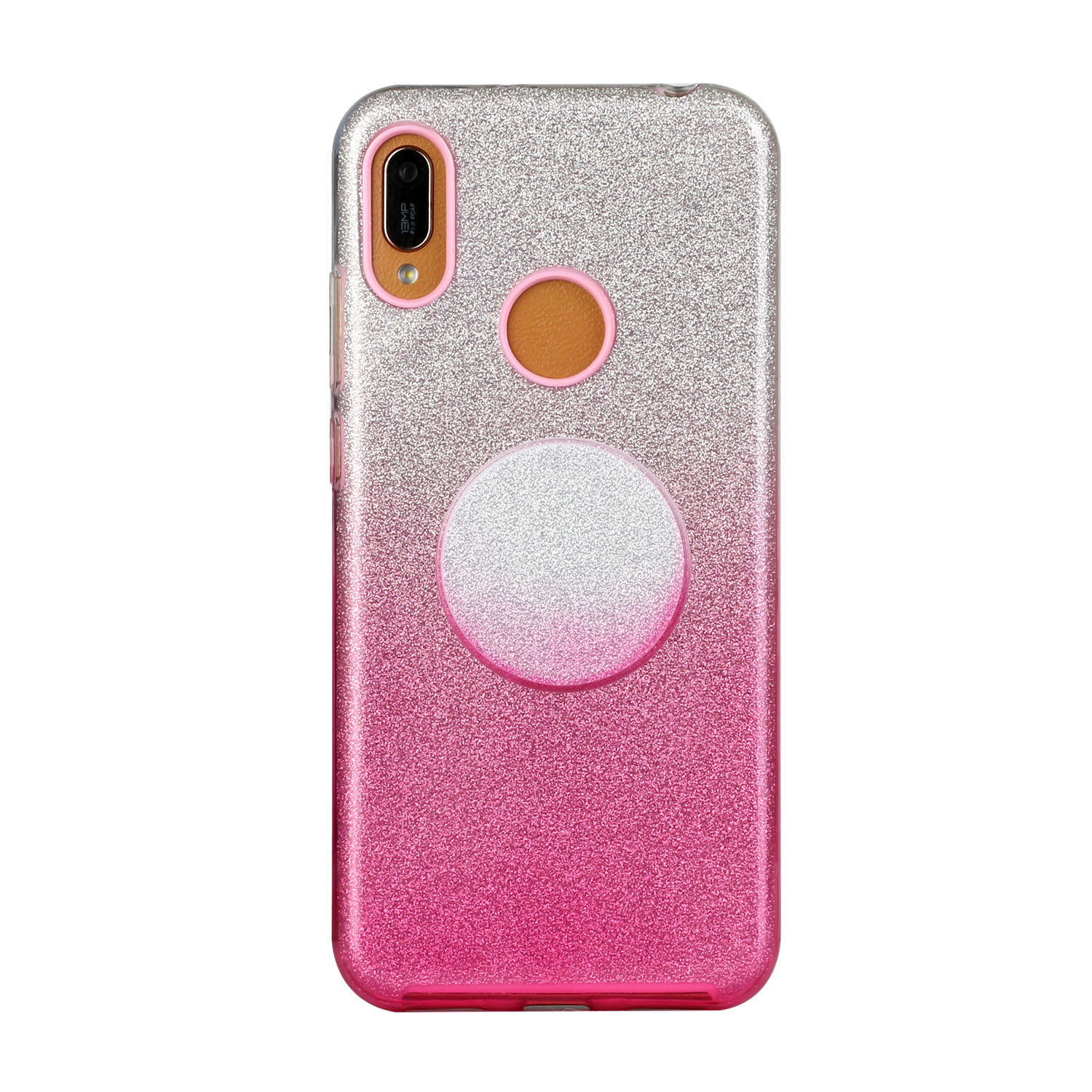 For HUAWEI Mate 30/Nova 5I pro/Mate 30 Pro/PSmart /Y5P/Y6P 2020 Phone Case Gradient Color Glitter Powder Phone Cover with Airbag Bracket Pink