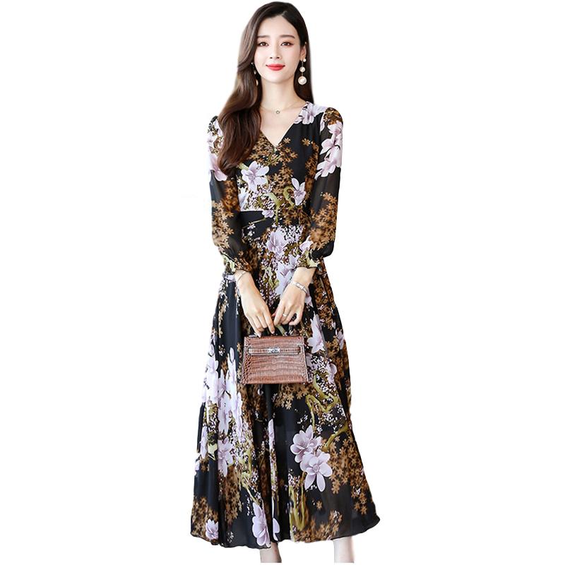 Women Long Sleeve Dress Fall Autumn Floral Printing Waisted V-neck Dress Camel_L