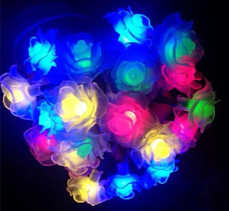 6M 30LEDs Waterproof Rose Flower Shape Solar String Light Outdoor Wedding Decor Color light_(ME0004203)