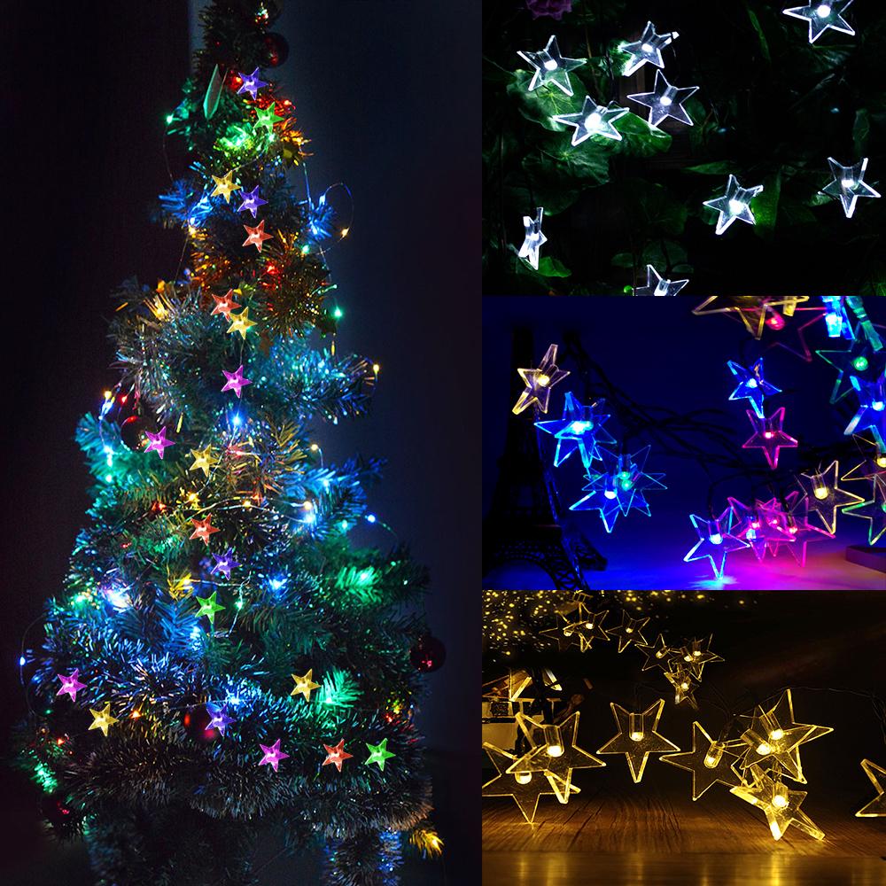 6M 30LEDs Waterproof Five Pointed Star Shape Solar String Light Outdoor Wedding Decor Color light_(ME0004803)