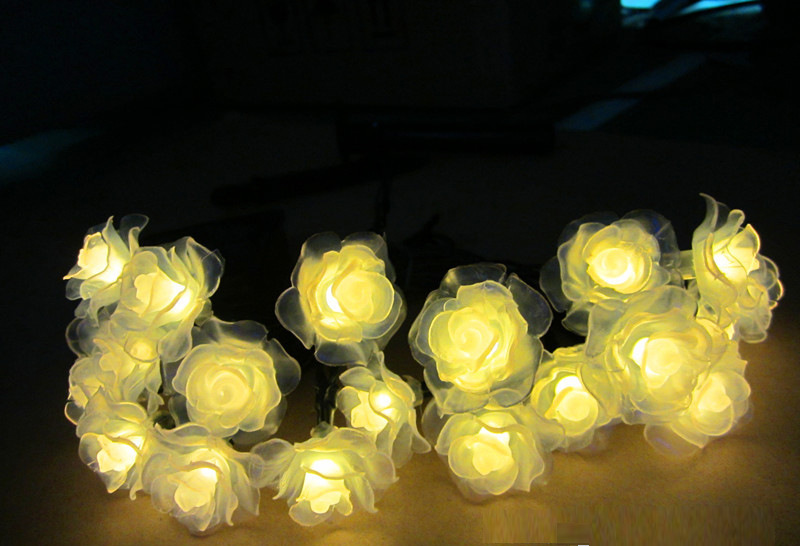 6M 30LEDs Waterproof Rose Flower Shape Solar String Light Outdoor Wedding Decor warm light_(ME0004202)