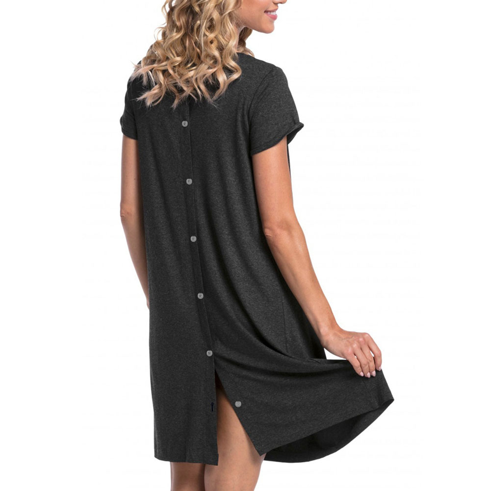 Maternity Simple Short Sleeves Hidden Openings Pregnant Woman Breastfeeding Nursing Dress  Dark gray_XL