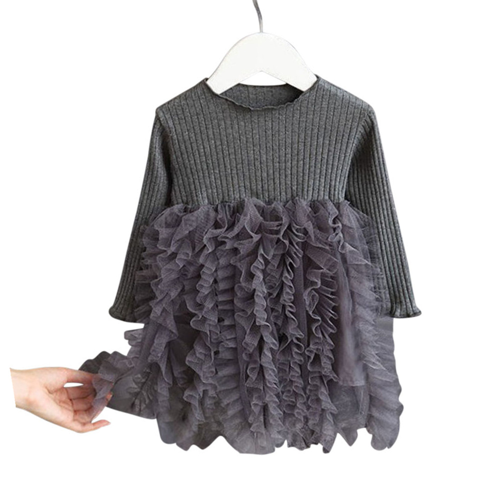 Girls Dress Knitted Long-sleeve Fluffy Yarn Cake Dress for 1-6 Years Old Kids grey_110cm