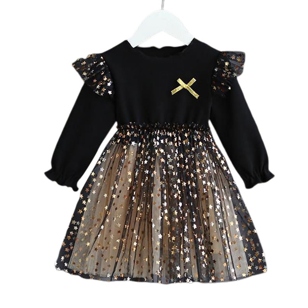 Kids Girls Dress Knitted Long Sleeve/Sleeveless Puffy Mesh Princess Dress Long sleeve_140cm