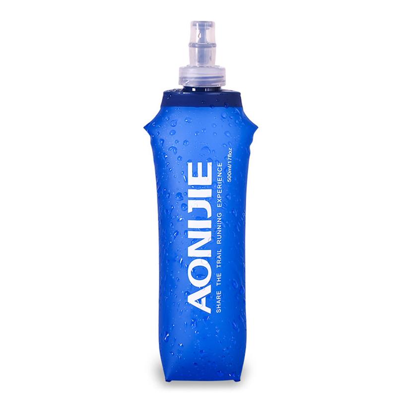 250ML/500ML Soft TPU Foldable Sports Water Bottle for Running Camping Hiking BPA & PVC Free Water Bag Dark blue 500ML_One Size
