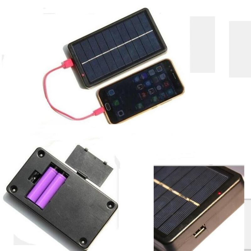 Portable Multifunction Solar Panel Charger Mobile Power Bank for Phone 18650 Battery (No Battery) black