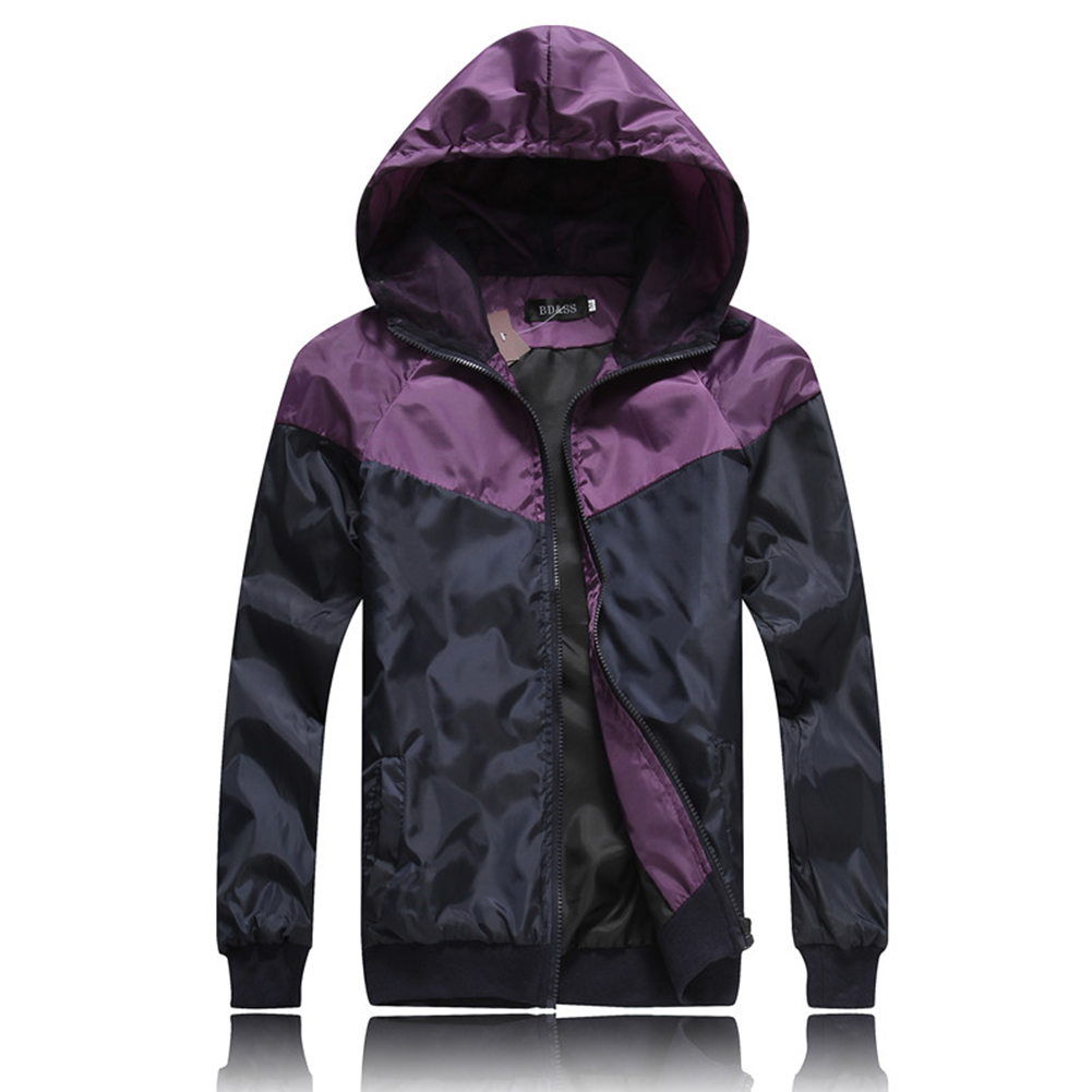 Men Fashion Autumn Thin Hooded Casual Slim Jacket Tops Coat purple_XXL