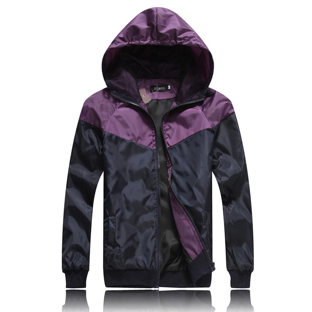 Men Fashion Autumn Thin Hooded Casual Slim Jacket Tops Coat purple_L