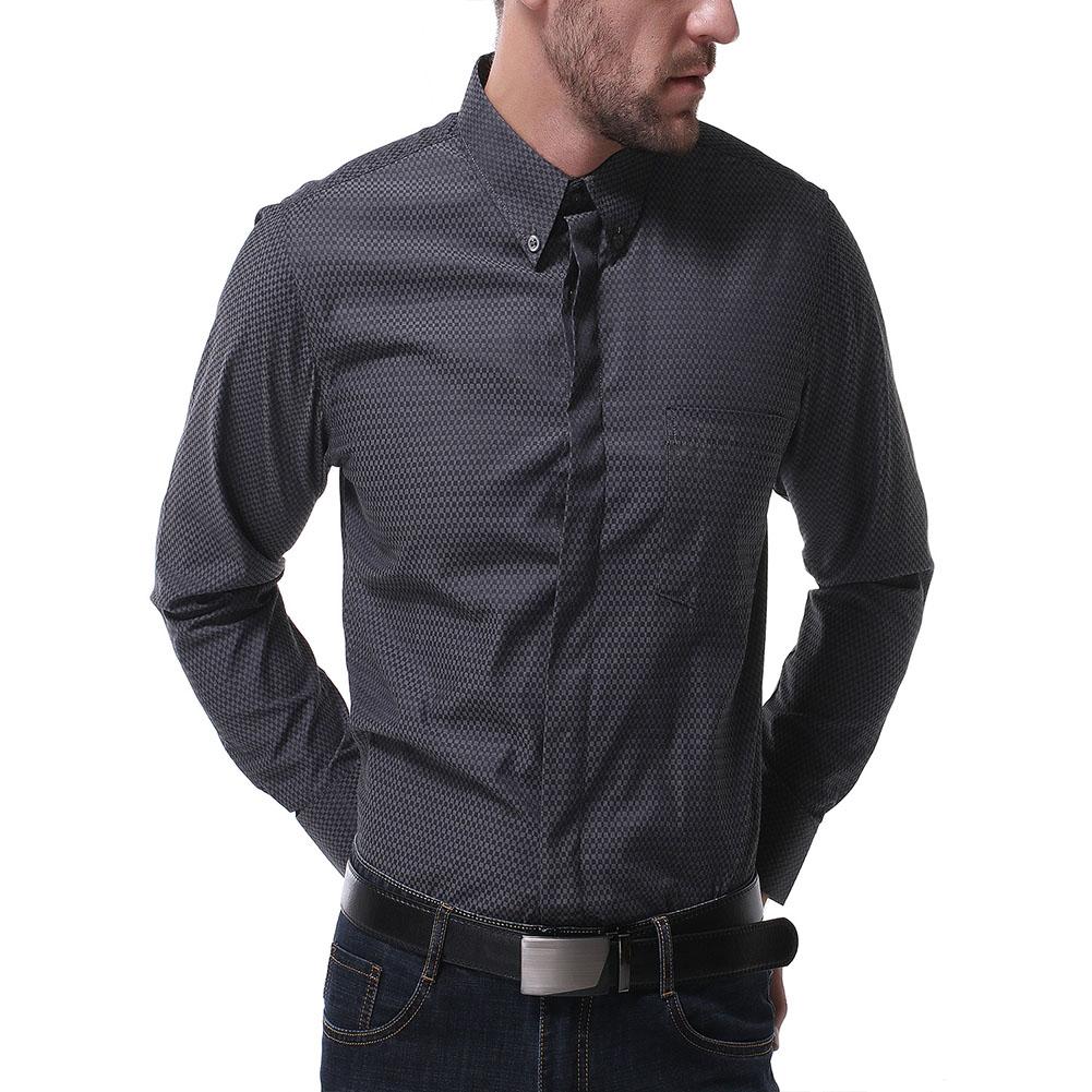 Men's Leisure Shirt Autumn Solid Color Long-sleeve Business Shirt Black _XXL