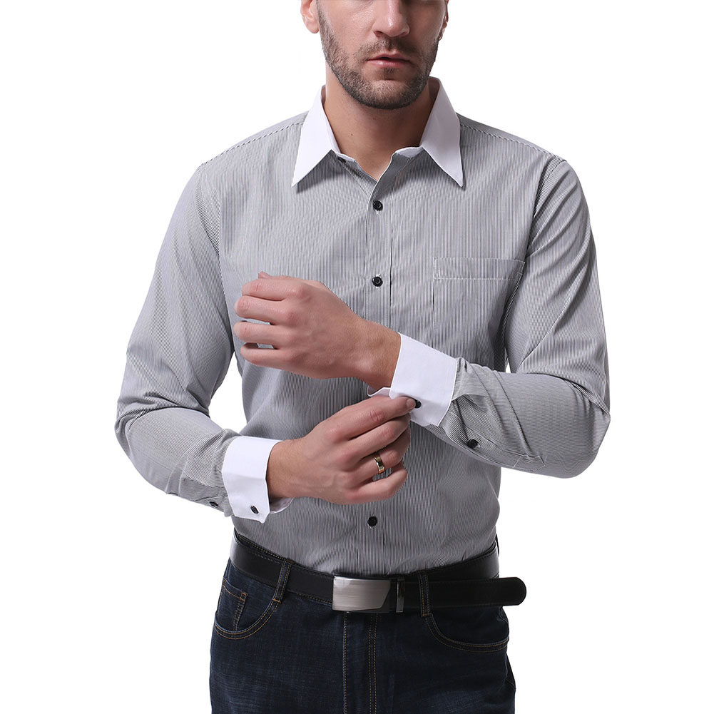 Men Casual Long Sleeve Shirt Autumn Lapel Adults Cotton Tops for Business Black_L