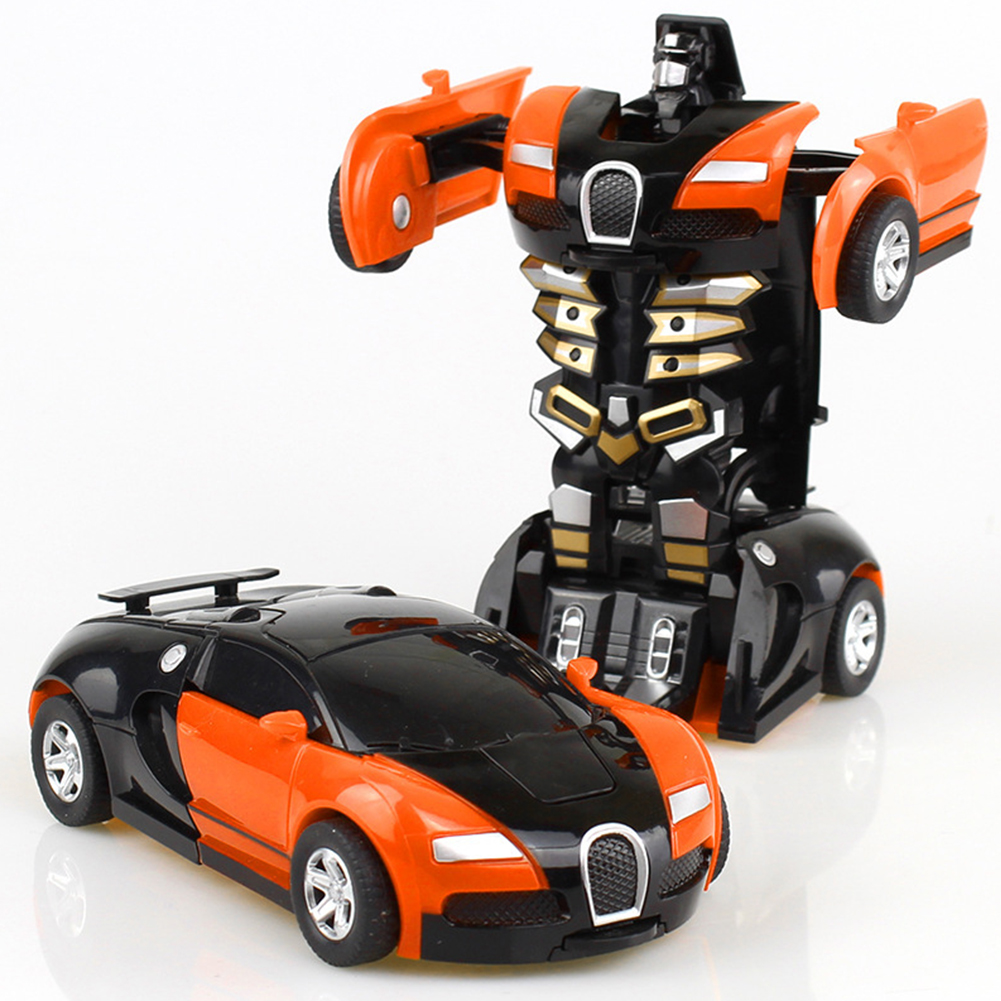 Rescue Bots Deformation Transformer Car One-Step Car Robot Vehicle Model Action Figures Toy Transform Car for Kids orange