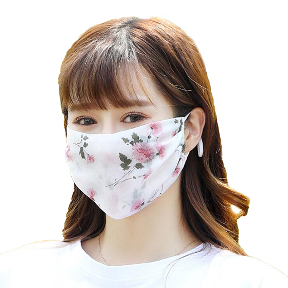 Fashionable Chiffon Printed Sunscreen Summer Breathable And Washable Dustproof Mask Peony flower on white_One size