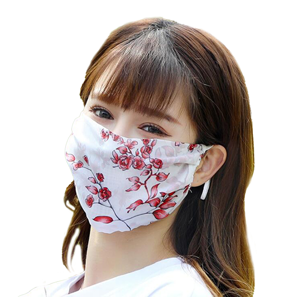 Fashionable Chiffon Printed Sunscreen Summer Breathable And Washable Dustproof Mask Red leaf flower_One size