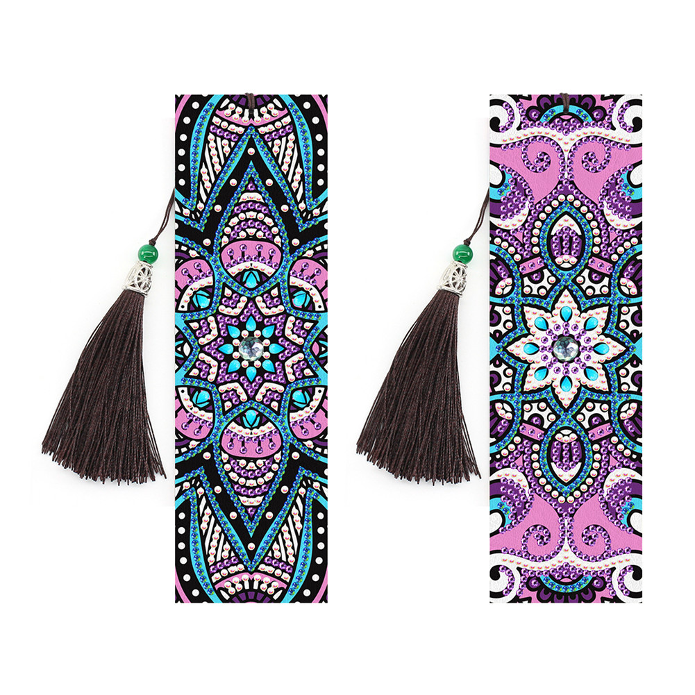 2Pcs 5D DIY Leather Bookmark Tassel Book Marks Special Shaped Diamond Embroidery Craft SQ15