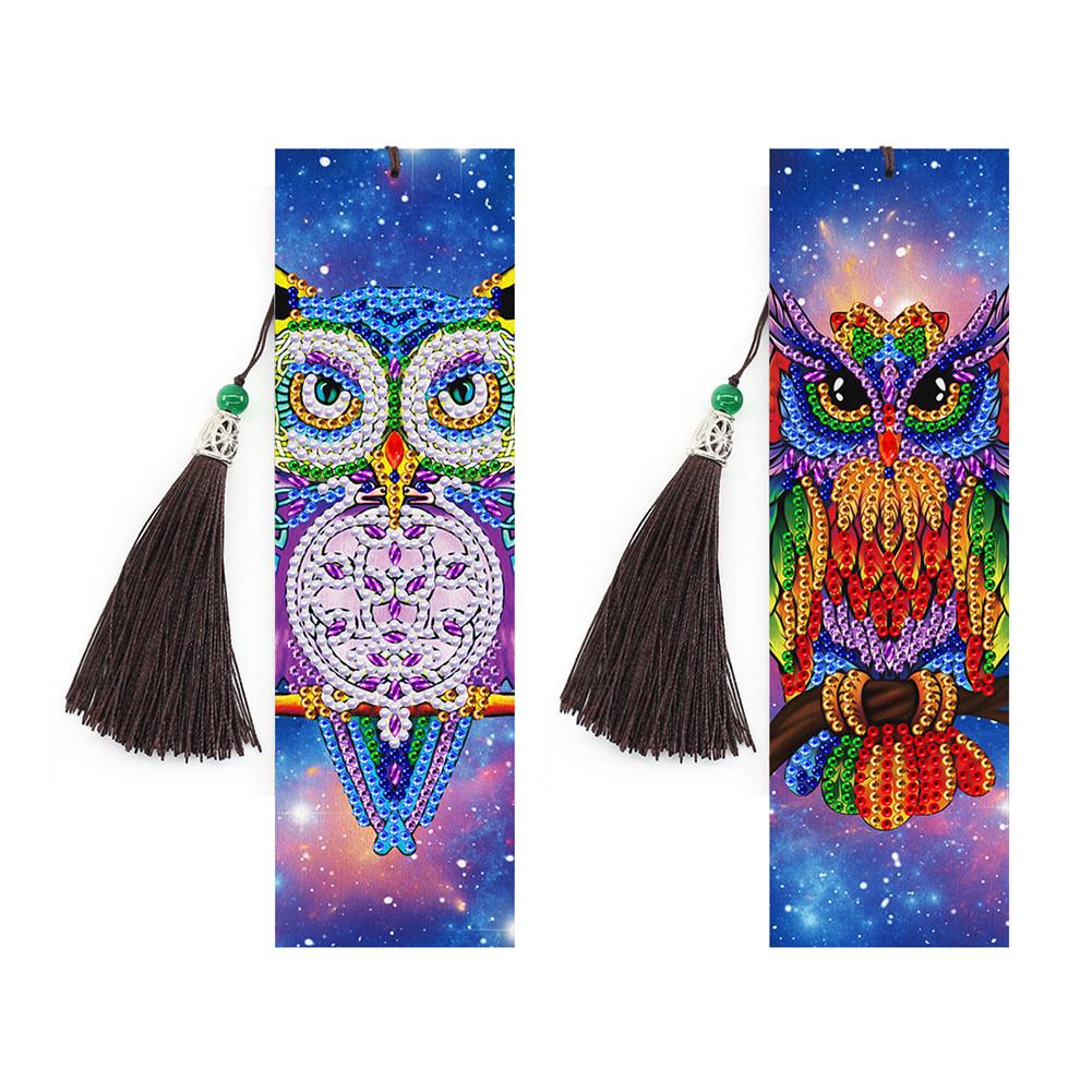 2Pcs 5D DIY Diamond Painting Bookmark Tassel Leather Book Marks DIY Embroidery Craft SQ16