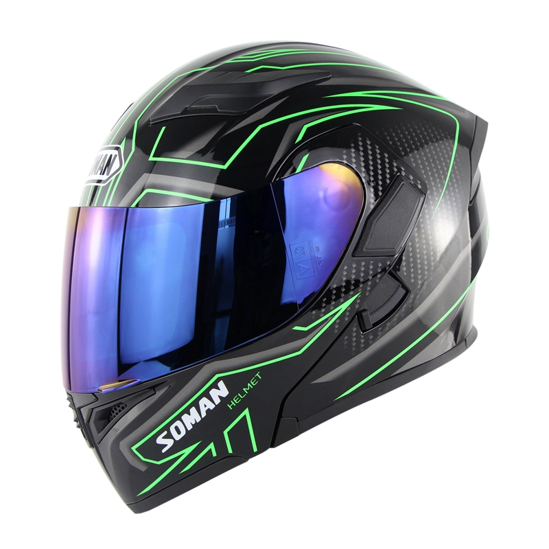 Cool Unisex Double Lens Flip-up Motorcycle Helmet Off-road Safety Helmet Line green with blue  lens_XXL