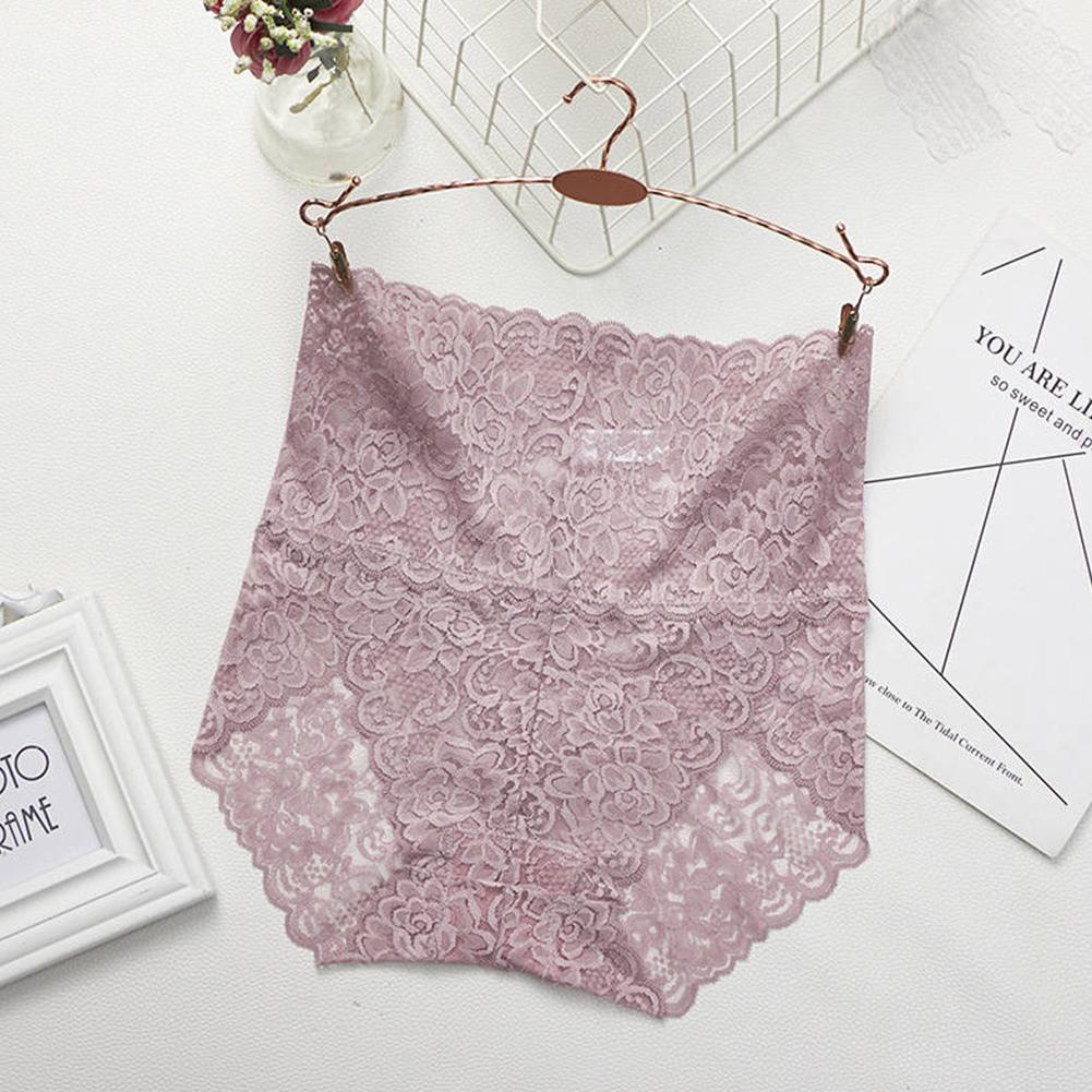Women's Lingerie Sexy Lace Mesh Floral Seamless Plus Size High Waist Underpants pale pinkish gray_XXL