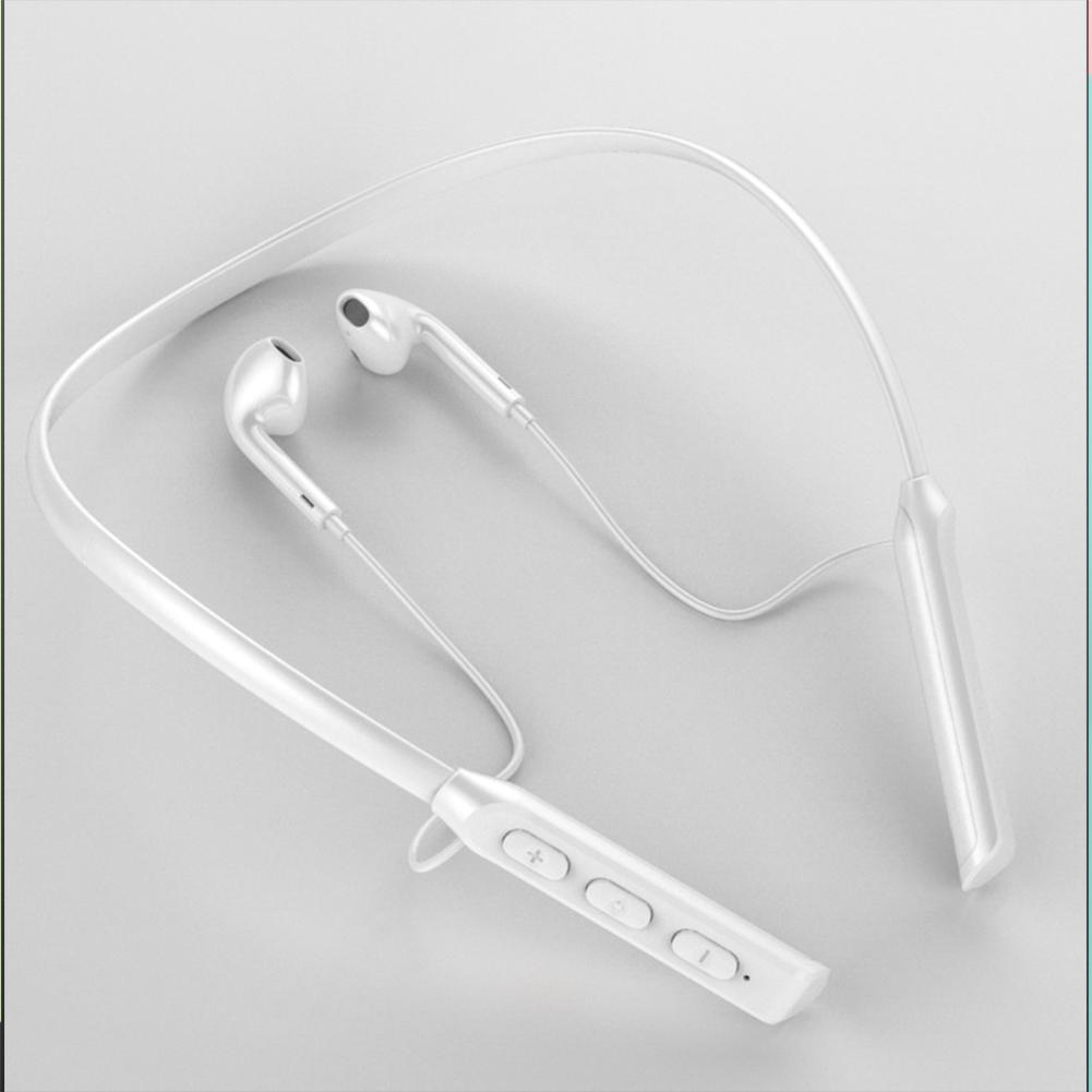 Wireless Bluetooth Headset Hanging Neck Band Anti-drop Sports Earphones white