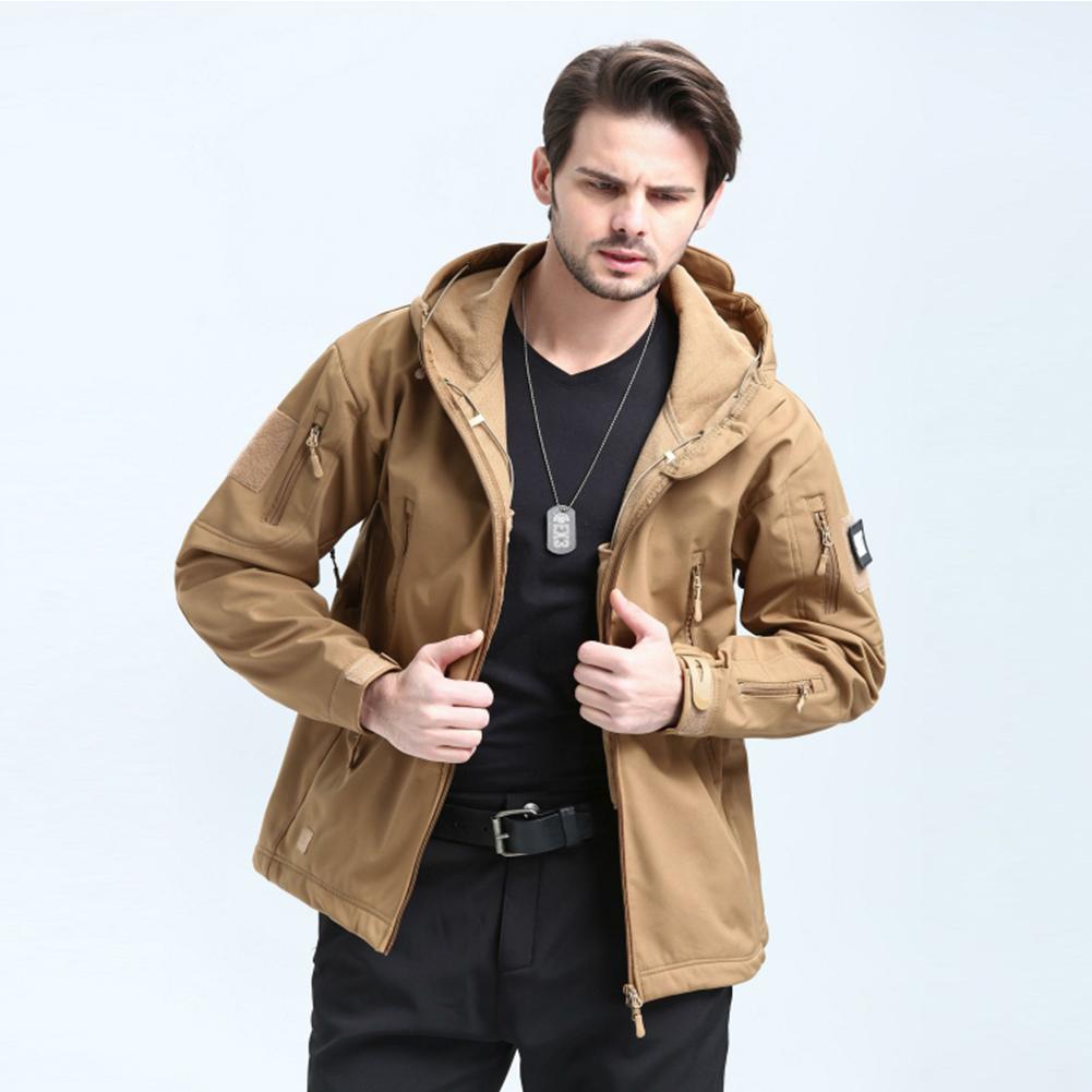 Men Outdoor 3 in 1 Waterproof Fleece Jacket Khaki_L