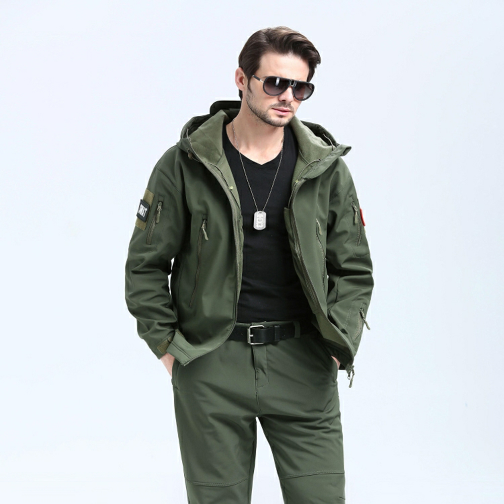 Men Outdoor 3 in 1 Waterproof Fleece Jacket green_M