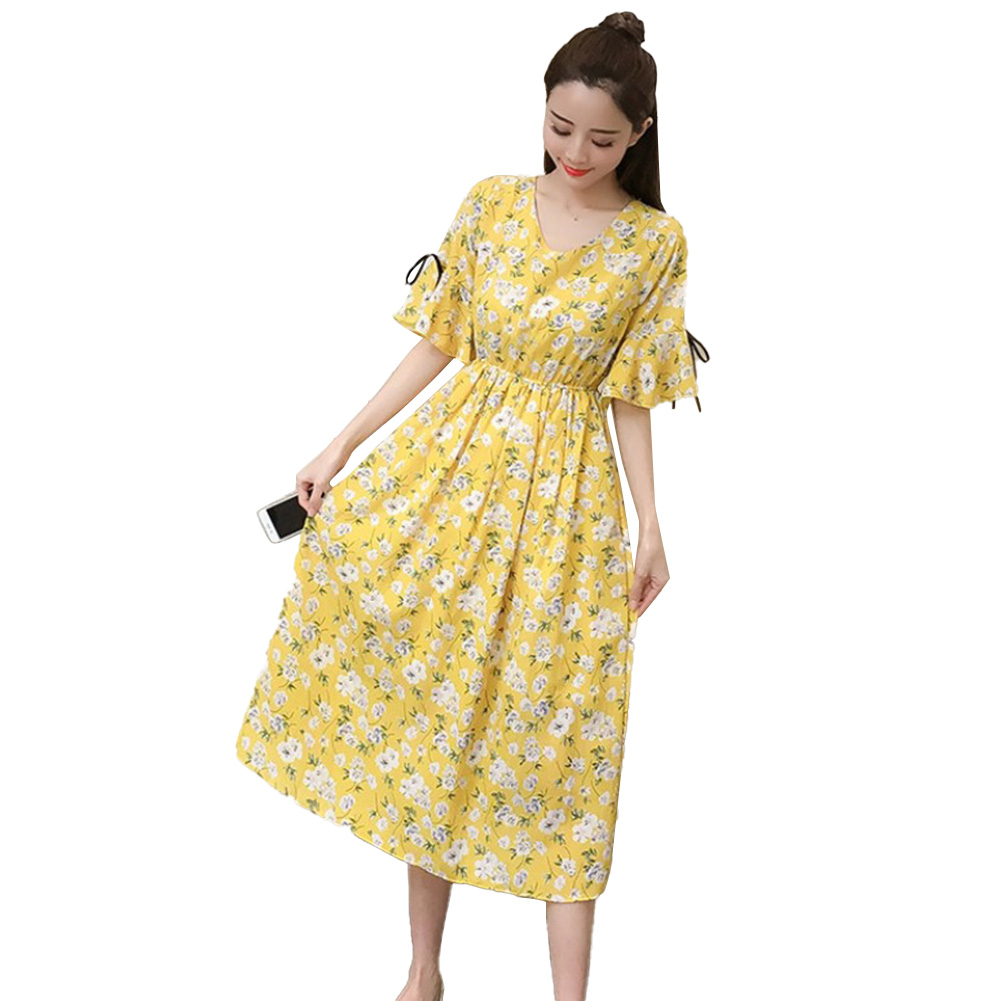 Maternity Summer Dress Chiffon Loose Long Skirt Chiffon Polka Dots Summer Pregnancy Clothes Maternity Dresses (Pregnant Edition-) Yellow_L